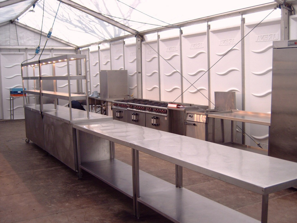 Temporary marquee kitchen installed to provide a la carte catering at Aintree Racecourse, Liverpool.