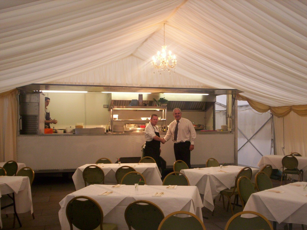 A Sprinter unit and a Marquee in use for cooking demonstrations at the Young Chef of the Year awards, Manchester.